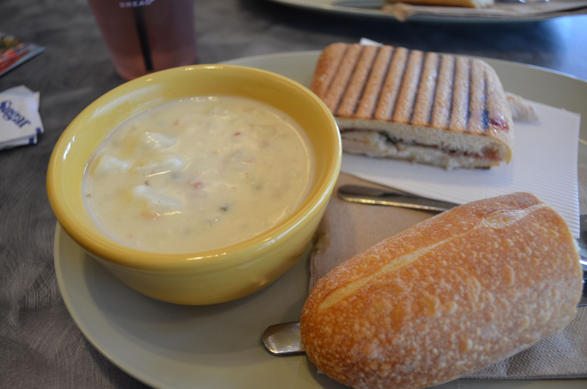 Panera Baked Potato Soup and Roasted Turkey & Cranberry Panini