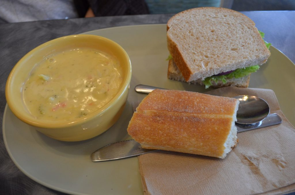 Broccoli Cheddar Soup and Tuna Sandwich.