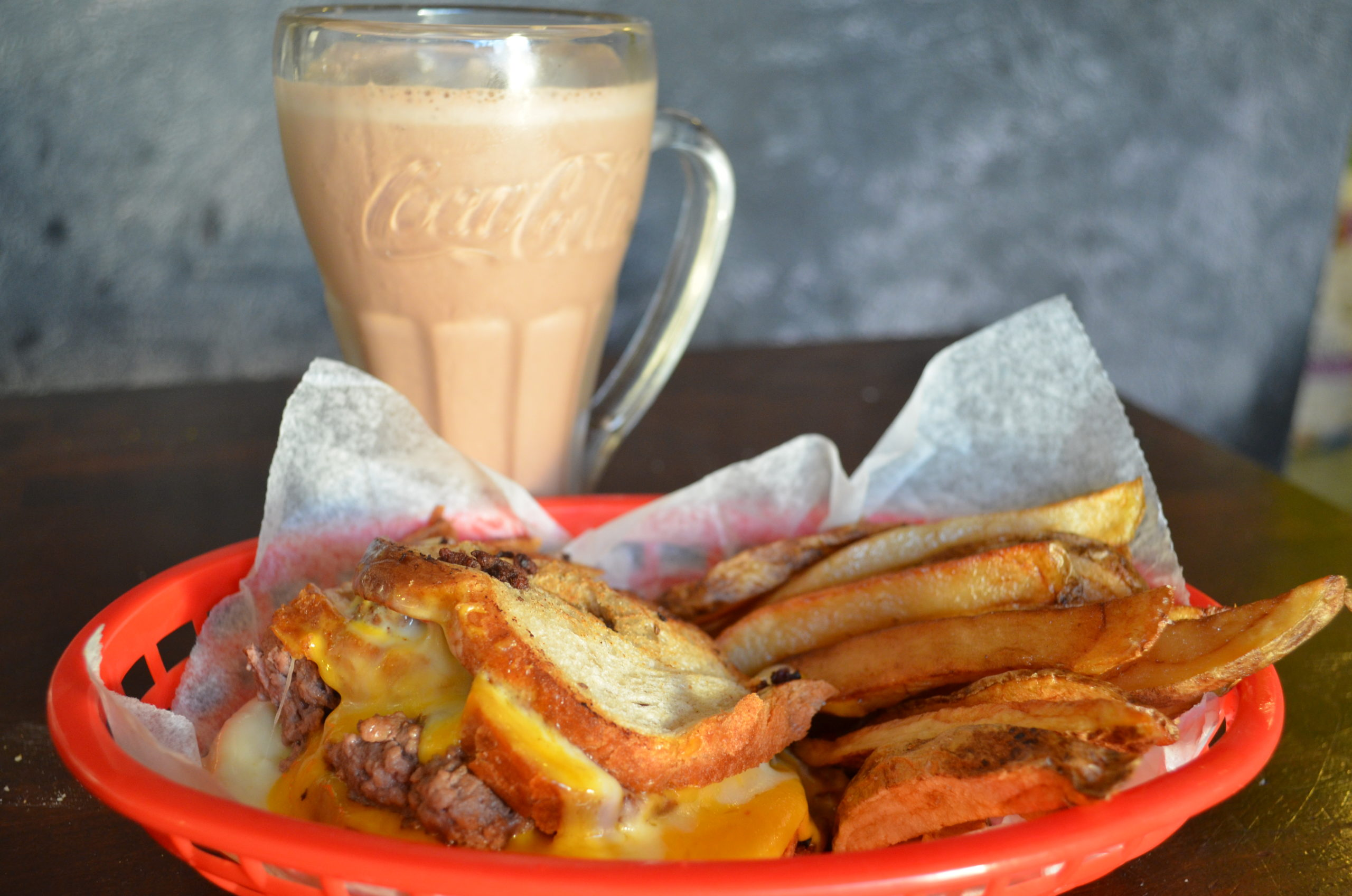 patty melt, hand cut fries, chocolate milkshake