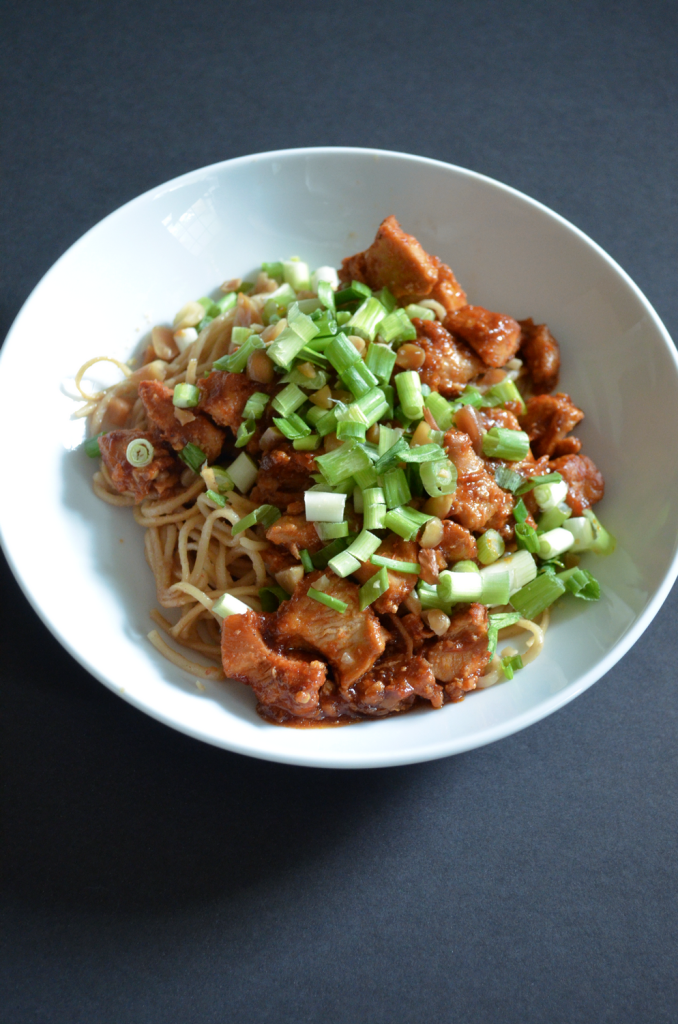chili chicken and peanut noodles
