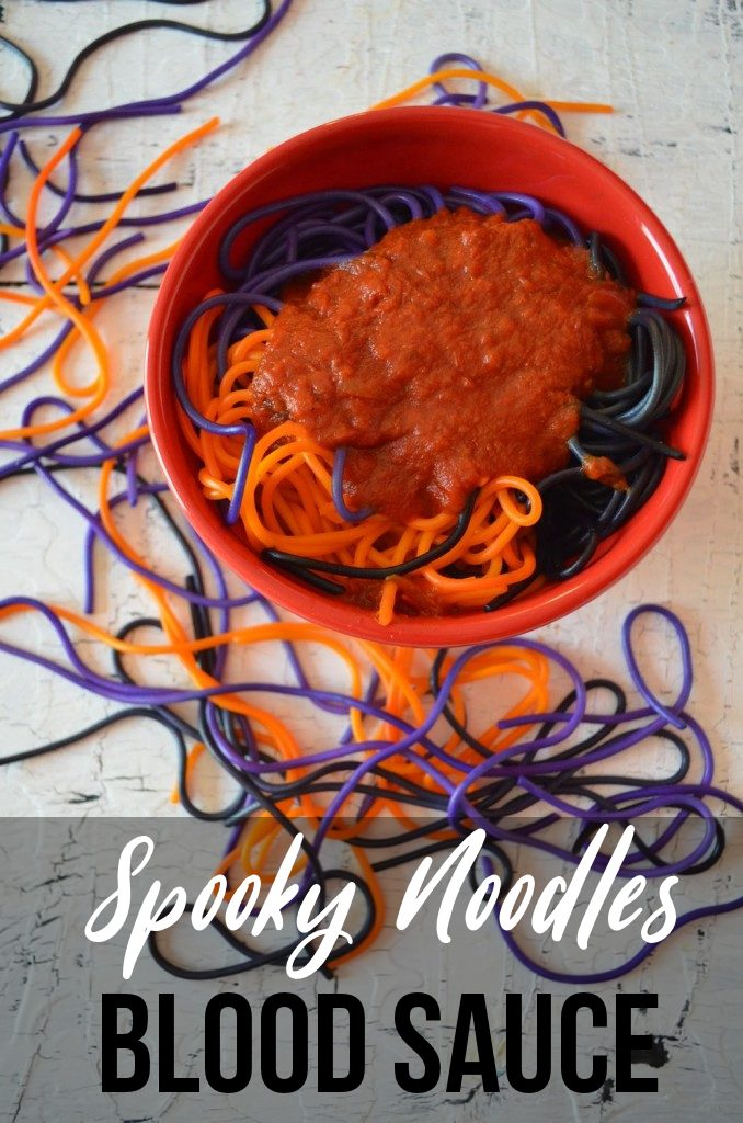 Spooky Noodles with Blood Sauce