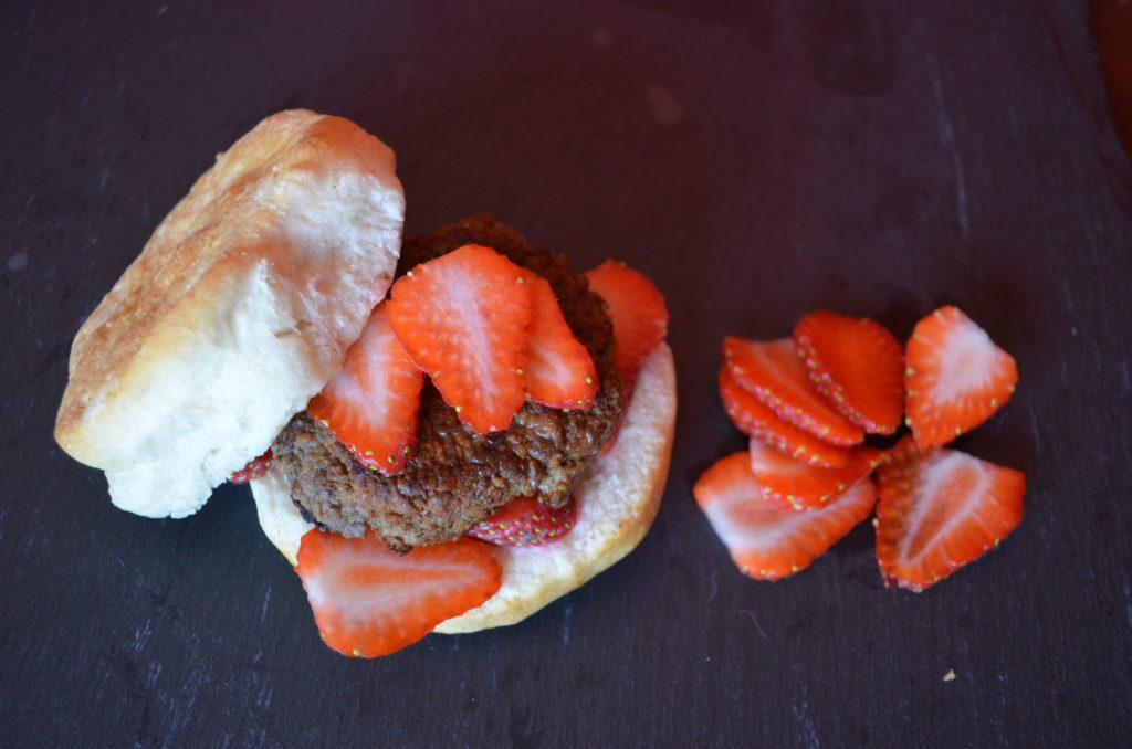 #ad Strawberry and Sausage Breakfast Sandwich #TheWrightBreakfast