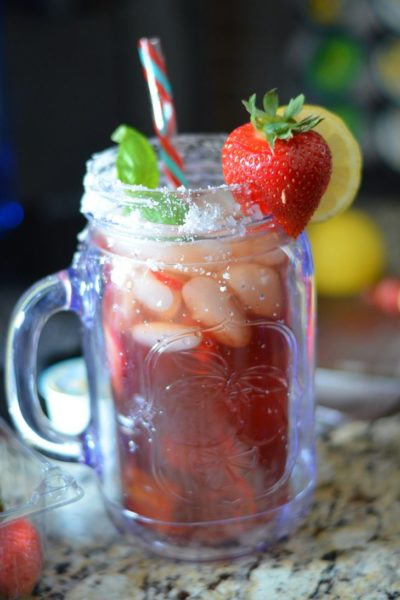 Sugared Strawberry Basil Lemon Tea - Mooshu Jenne #BrewOverIce #BrewItUp #shop