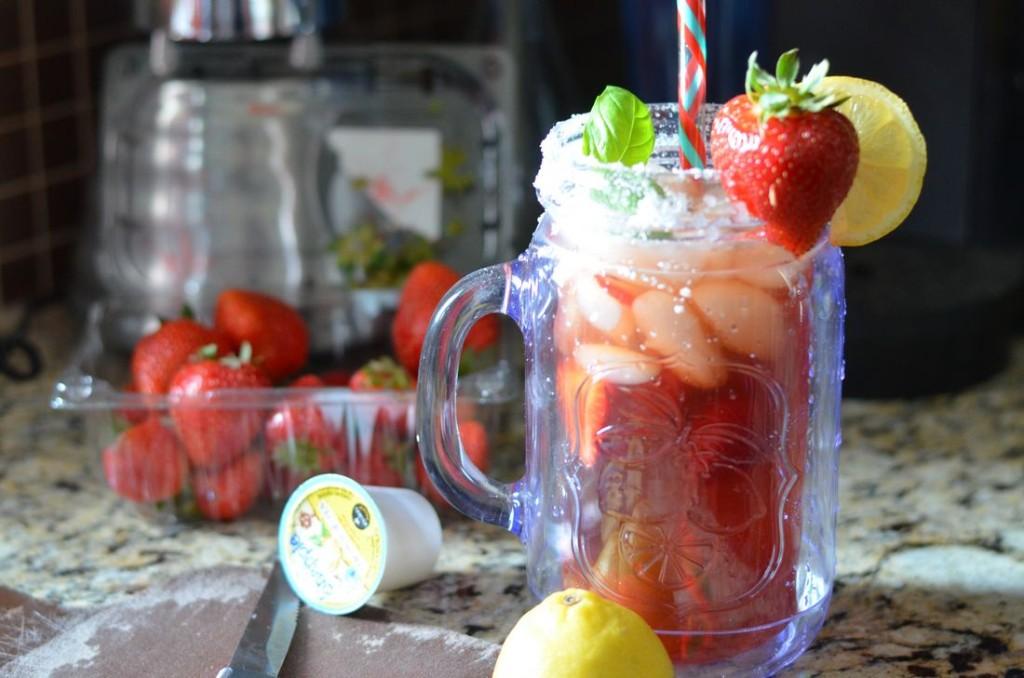 Sugared Strawberry Basil Lemon Iced Tea