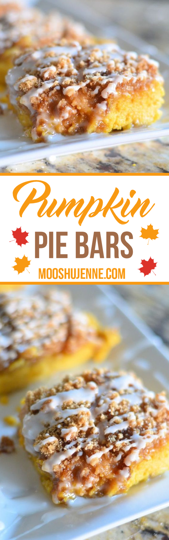 Pumpkin Pie Bars. They are simple. They take about an hour to put together and as you see below they come out pretty. Just drizzle a bit of icing, add a candle, and serve!