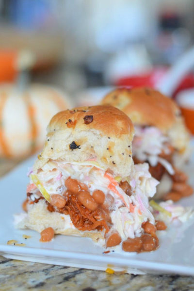 Supernatural Sliders via Mooshu Jenne - Made with FarmRich Beef brisket, coleslaw, and beans on a onion roll.