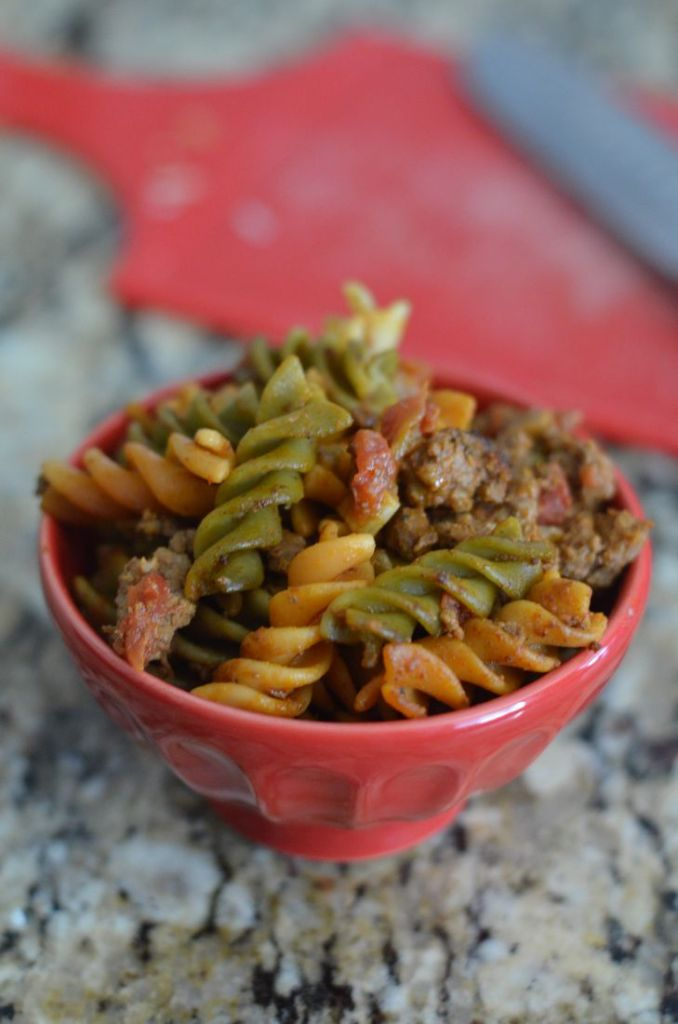 Tex Mex Pasta Skillet by Mooshu Jenne  Savory pasta topped with chili and rotel.