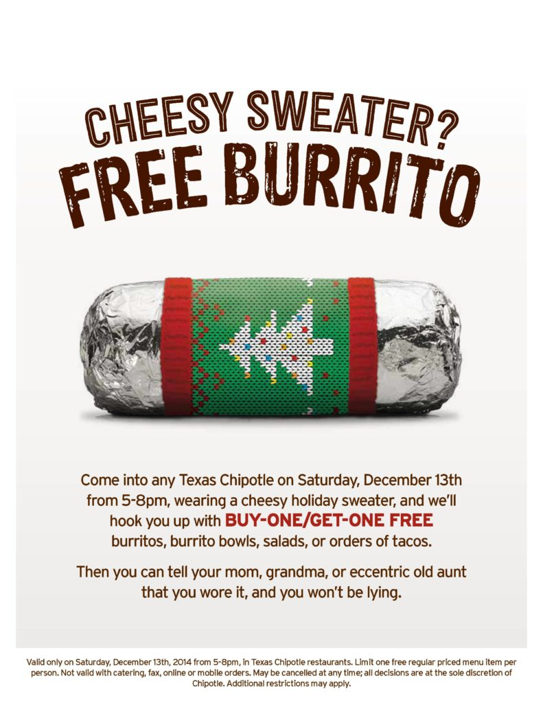 Chipotle's Cheesy Sweater Party