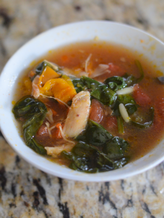 Italian Spinach Orzo Soup by Mooshu Jenne Made with bone broth, vegetables, and orzo pasta.