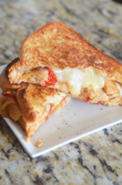 Havarti Chicken Fajita Grilled Cheese Sandwich by Mooshu Jenne #GooeyGoodness #sp