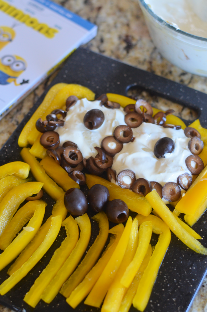 Roast Onion Garlic Dip with Minions Vegetable Tray #MinionsMovieNight #CollectiveBias #ad