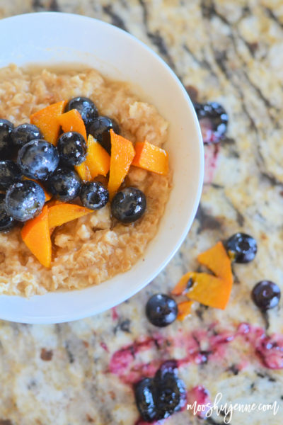 Honey Blueberry Persimmon Oatmeal
