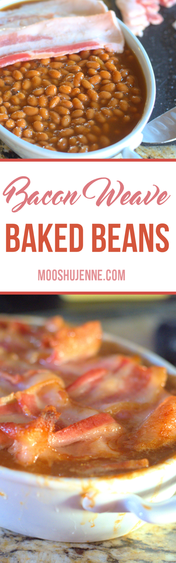 Southern baked beans topped with a bacon weave then baked to perfection.