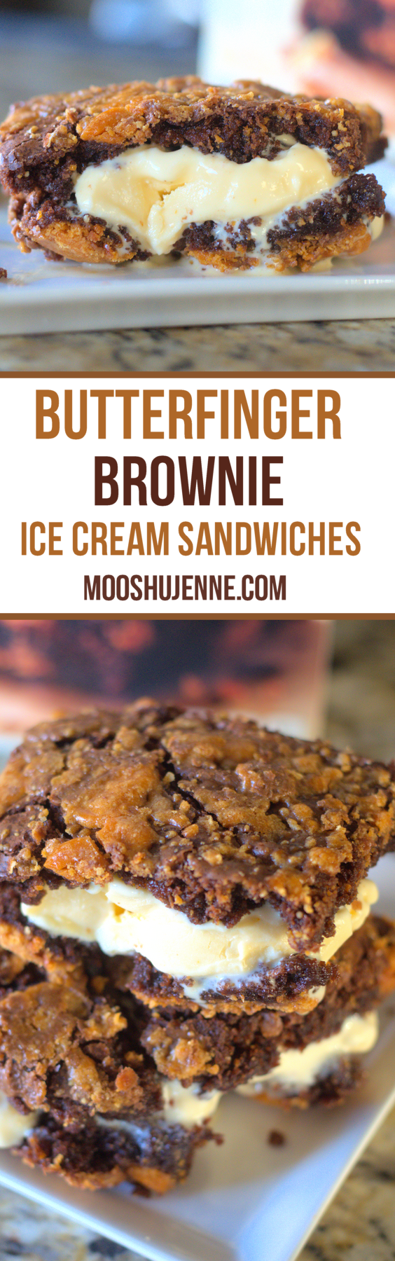 Butterfinger Brownie Ice Cream Sandwiches made with brownies and vanilla ice cream.