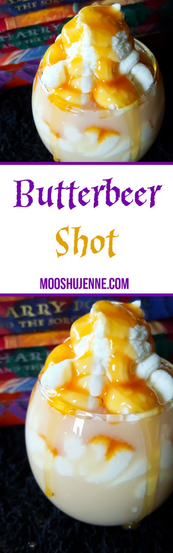 The key point to a good Butterbeer is that butterscotch flavor. Here I tried to accompany that with butterscotch schnapps. For the cream taste I used a cinnamon horchata which works really well. Then we use caramel and whipped topping for that height and look of Butterbeer.