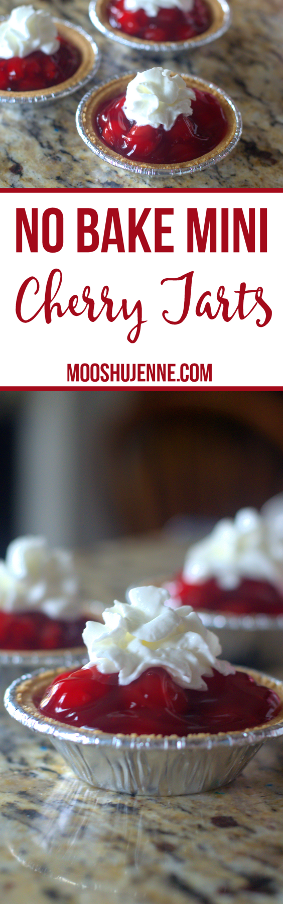 These No Bake Mini Cherry Tarts come together in less than five minutes. They include three ingredients which is also three products to buy. The cost is less than $7 and your not throwing out a entire pie because no one decided to eat it.