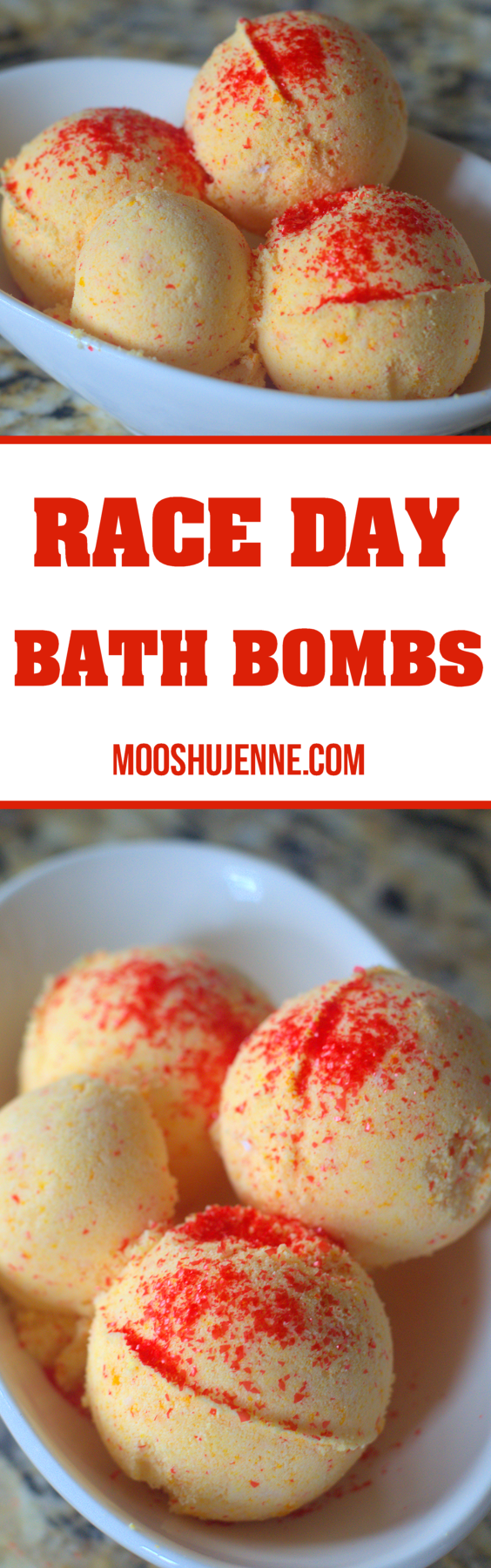 When we do go those loud engines can really do a number on your ears. Along with the aches and pains from walking from the parking lot into the stands and sitting in the stands all day long. That's why I have these Race Day Bath Bombs and Advil® Film-Coated Rapid Release Formula.