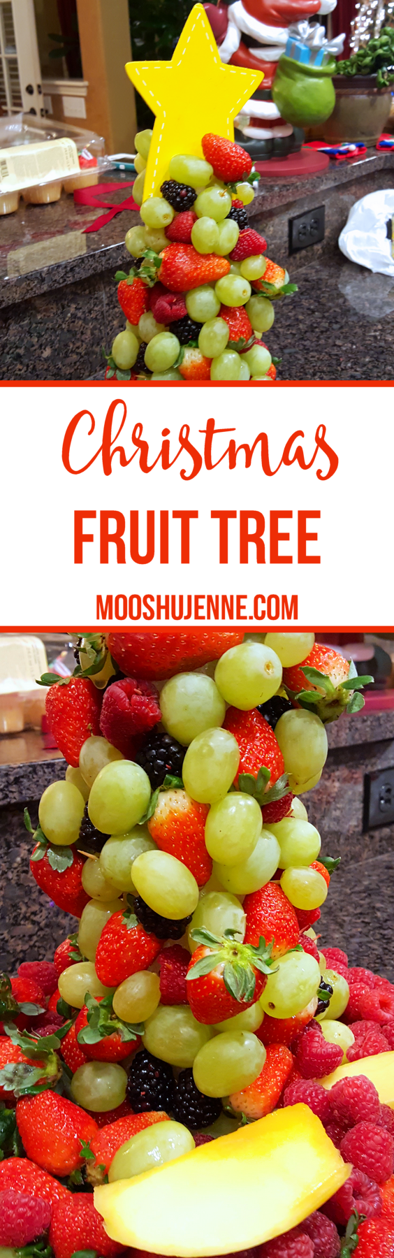 First, I thought of a vegetable/fruit tray in the shape of a tree. I looked around on Pinterest. Fiddled over a few ideas until we came to a wreath or a tree. We ended up picking the Christmas Fruit Tree. I thought I would share the DIY here with you.