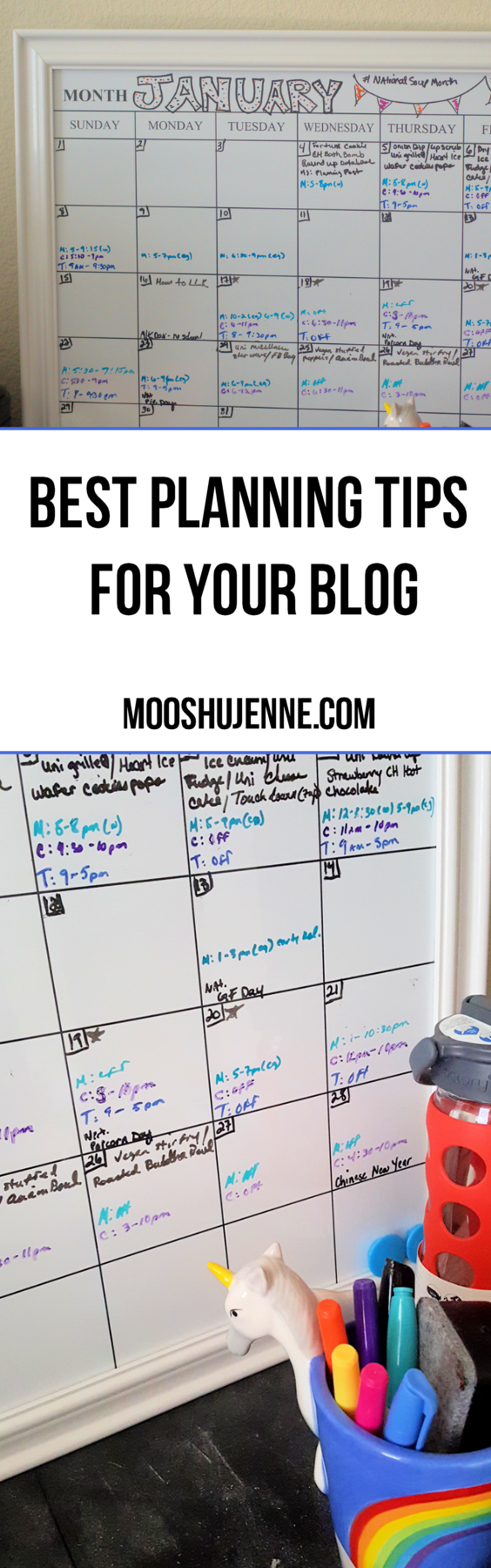 Usually that's about three to four posts a day that need photography, cooking, crafting, and writing. That between three other peoples schedules can easily make one post go amidst in my mind. But why a dry erase calendar board?