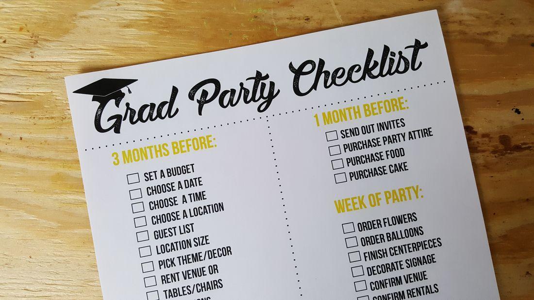 Graduation Party Printable Checklist