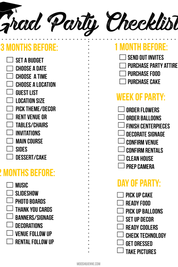 Graduation Party Printable Checklist