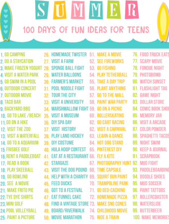 Teen Summer Bucket List