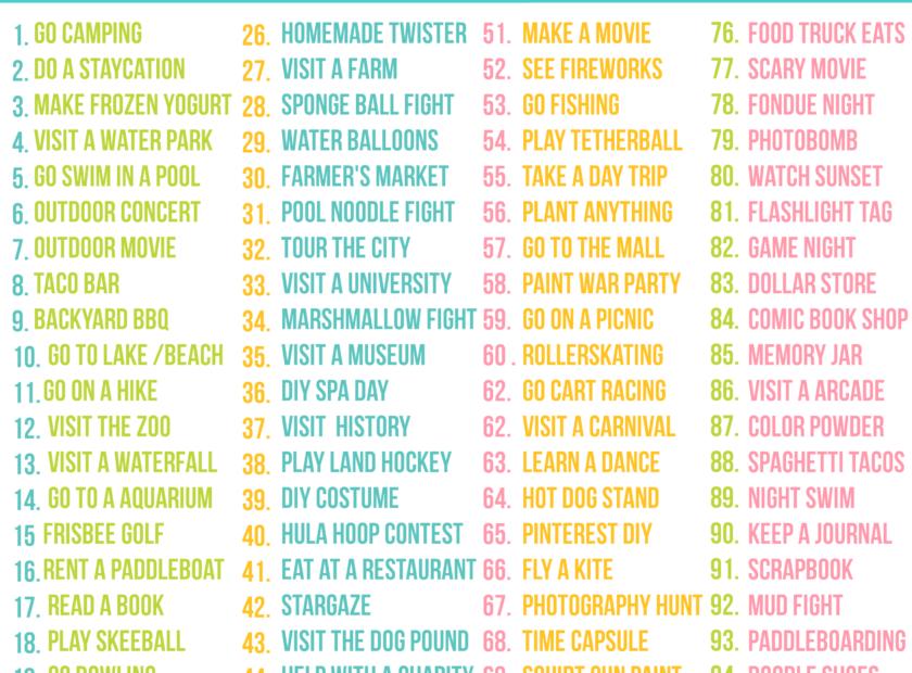 Teen Summer Bucket List