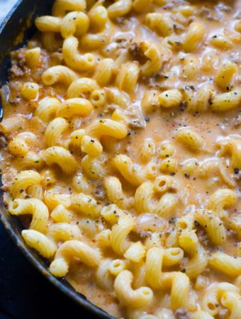 Creamy Beef Cavatappi easy quick ground beef pasta dish