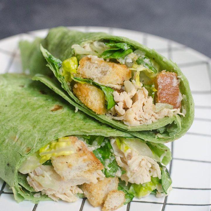 Instant Pot Caesar Chicken Wraps
