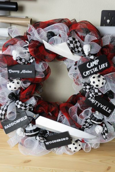 Horror Movie Buffalo Plaid Wreath