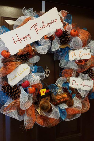 Thanksgiving Mesh Door Wreath 2