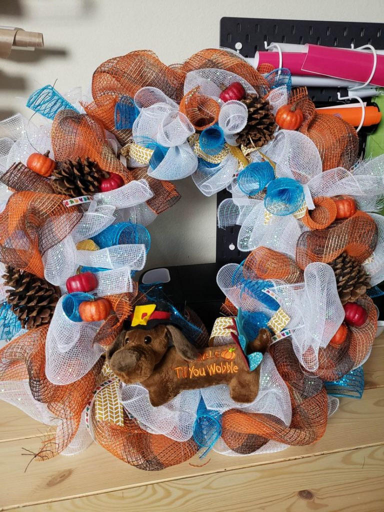 Thanksgiving Mesh Door Wreath 6