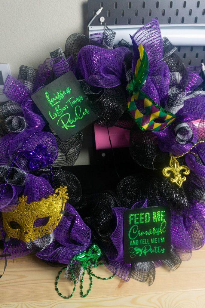 Mardi Gras Buffalo Plaid Wreath