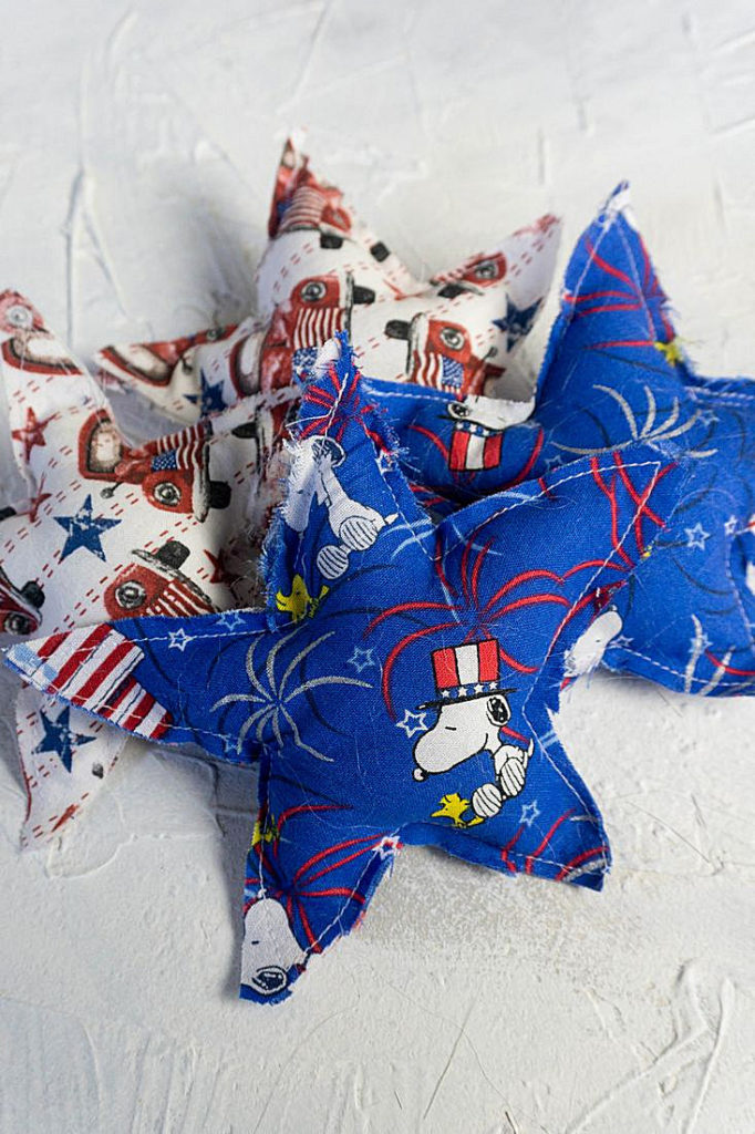 Snoppy and red truck stuffed stars on white background for display