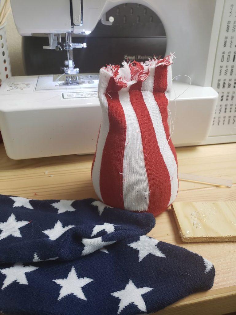 Star socks cut and sewn into a V.