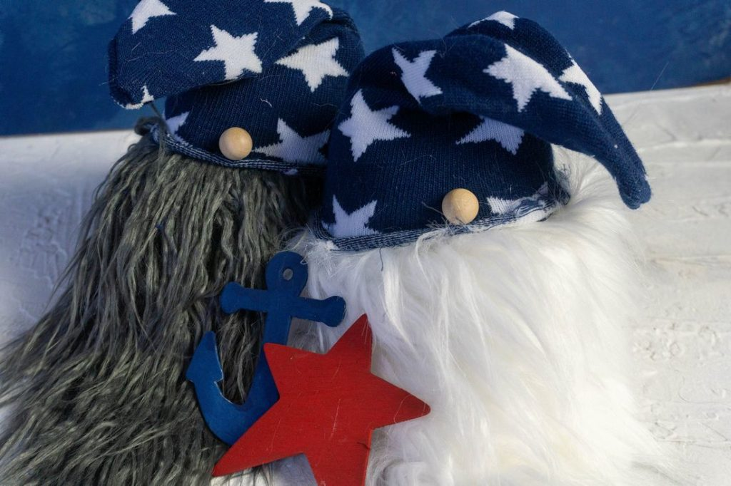 July 4th Gnomes on blue and white background