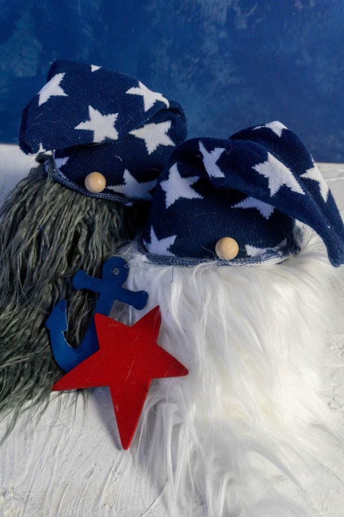 July 4th Gnomes with starred hats on blue and white background