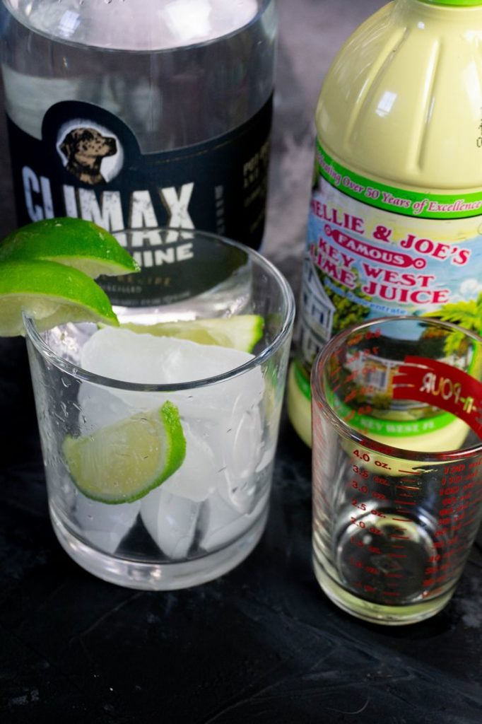 Set Up Of Ingredients For Key Lime Pie Cocktail
