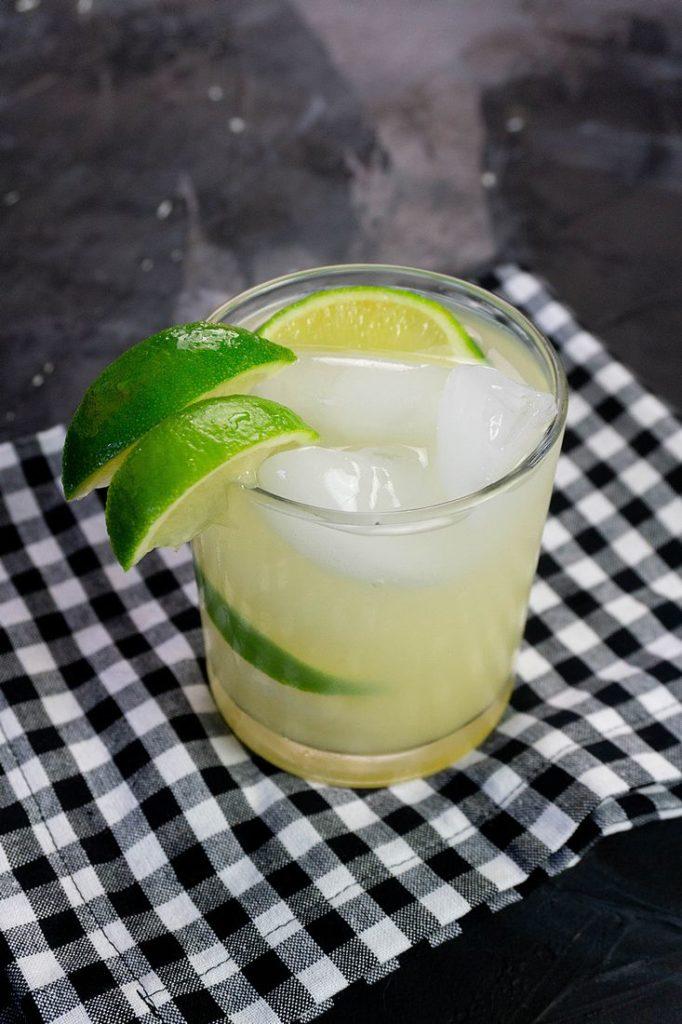 Key Lime Pie Moonshine Cocktail on Black Slate