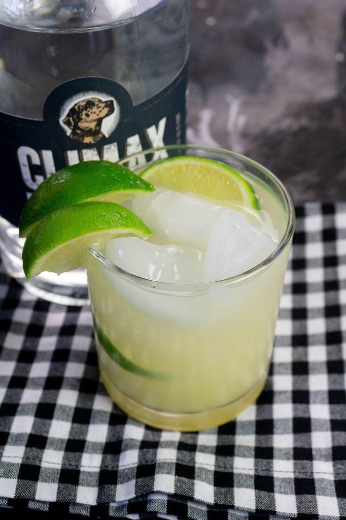 Key Lime Pie Moonshine Cocktail on a Plaid Napkin