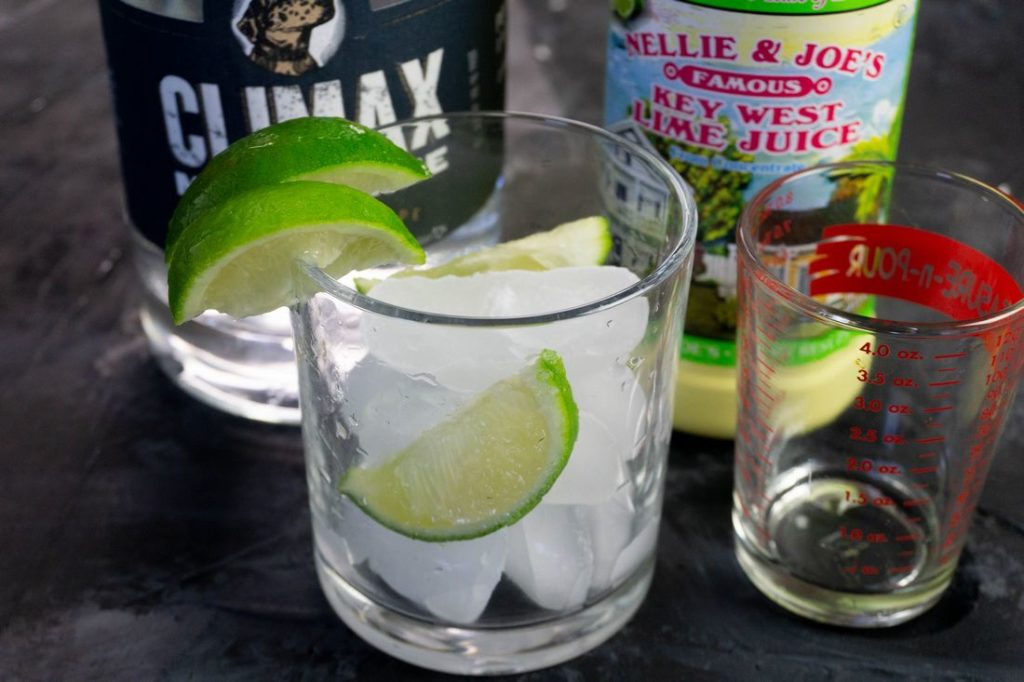 Set of Ingredients for Key Lime Pie Moonshine Cocktail