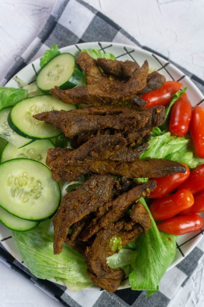 Instant Pot Beef Shawarma on white with napkin