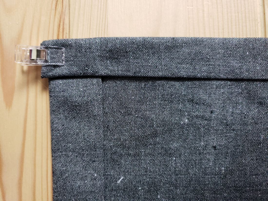 Sewing the napkin in gray