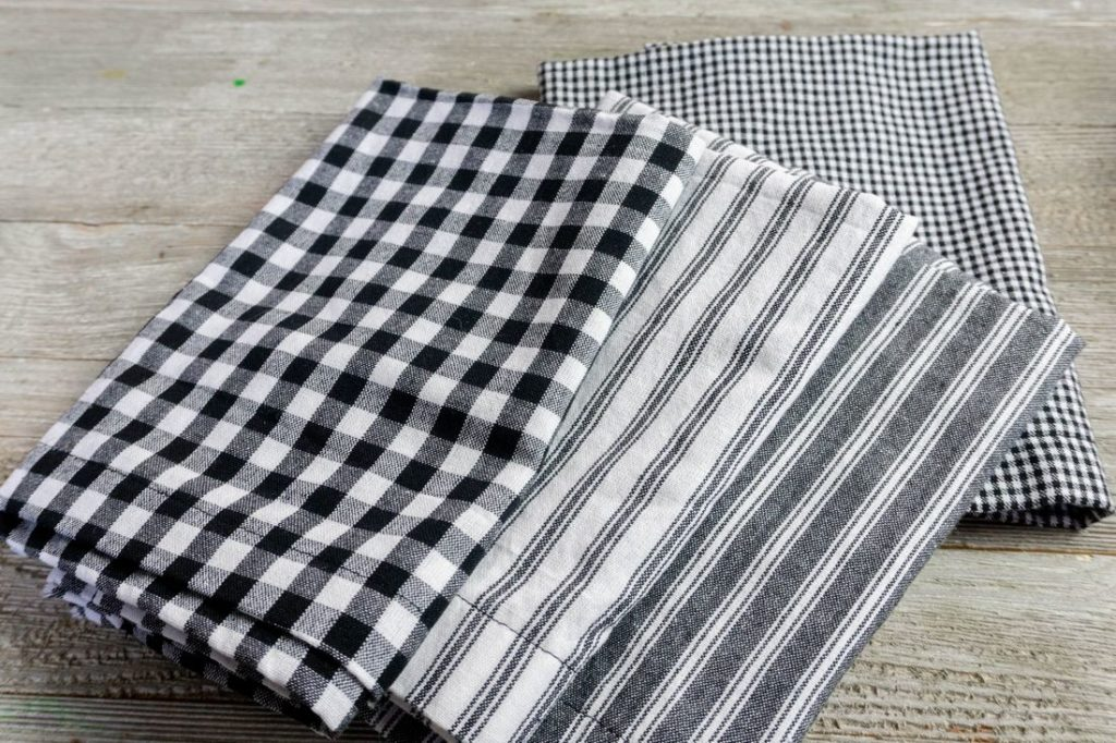 Cloth Napkins in gray, stripes, and plaid