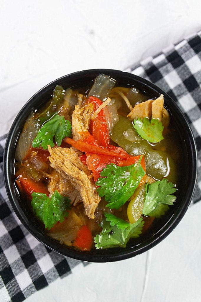 instant pot chicken fajitas soup on white background