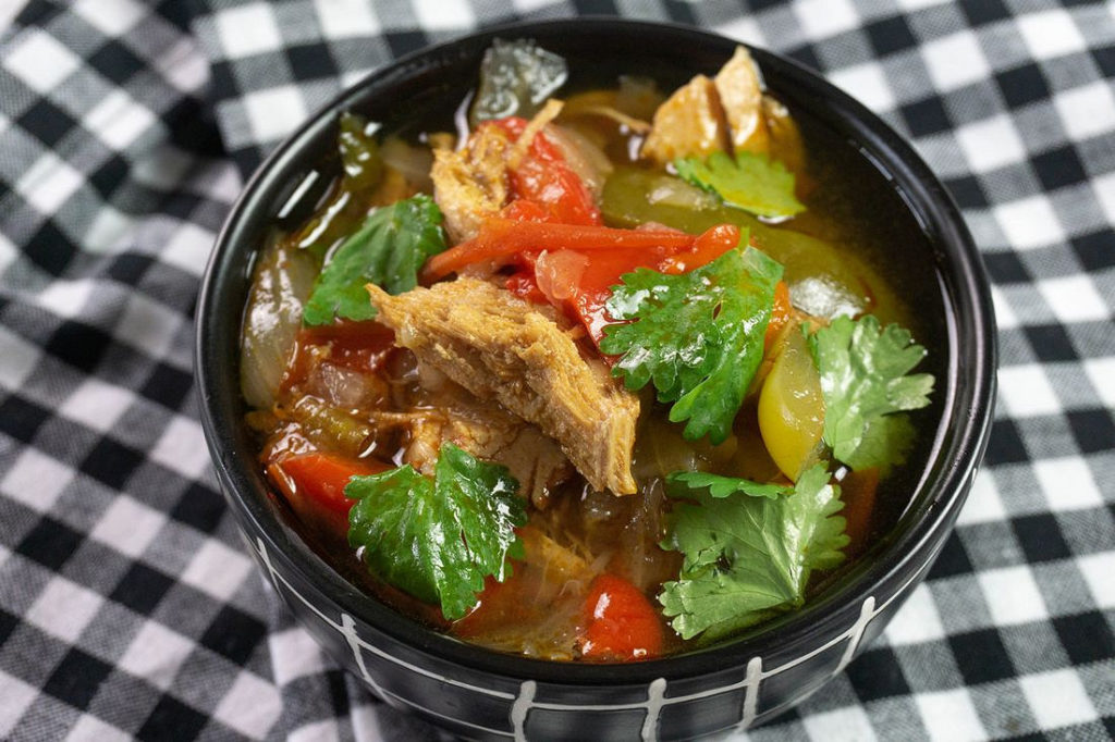 Instant Pot Chicken Fajita Soup on plaid napkin