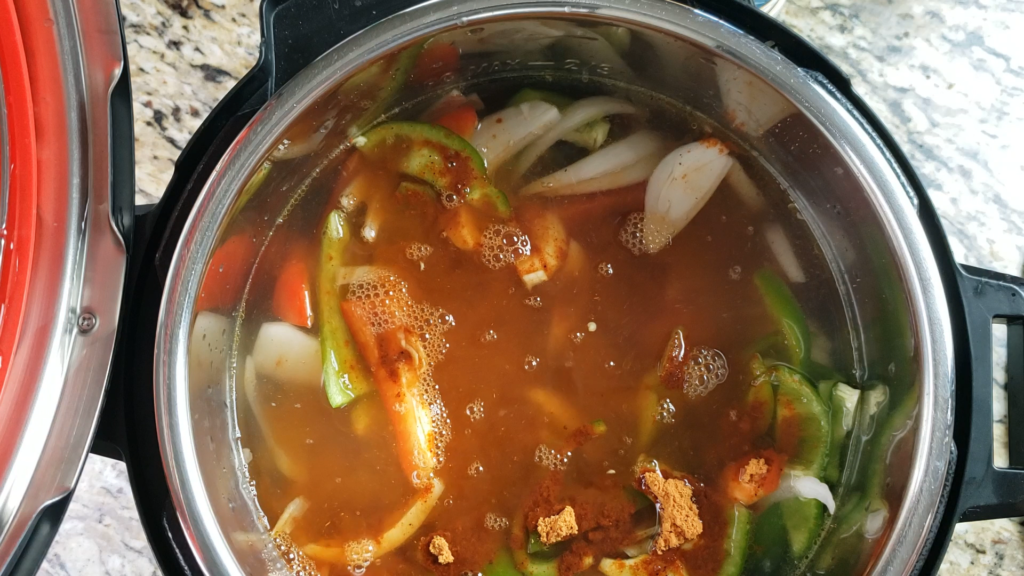 broth, onions, peppers. and chicken