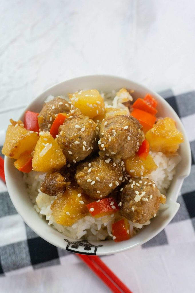 Instant Pot Hawaiian Beef Meatballs on white background