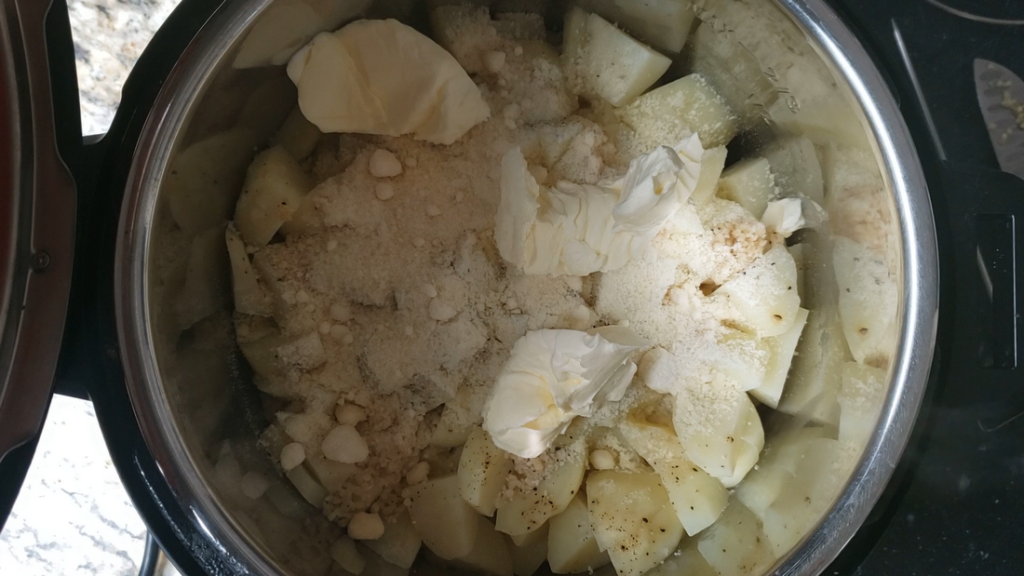 Potatoes, butter, and parmesan in the instant pot