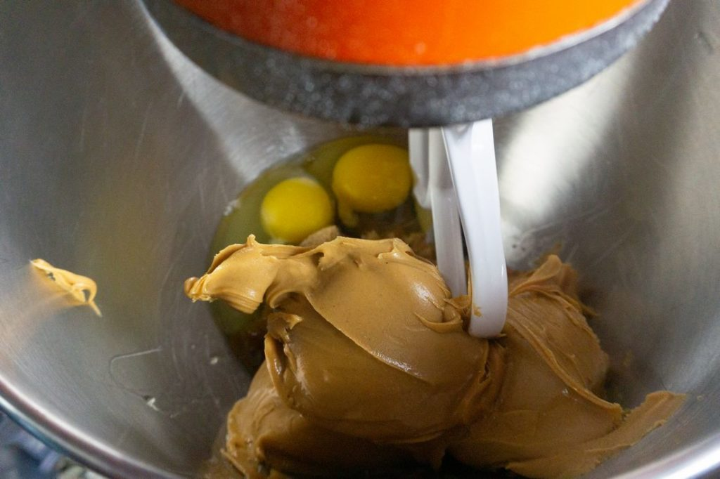 Peanut butter and egg in a kitchen aid mixer